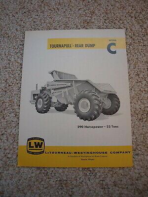 Letourneau-westinghouse Tournapull Rear Dump Model C Brochure 1961 Original Mint