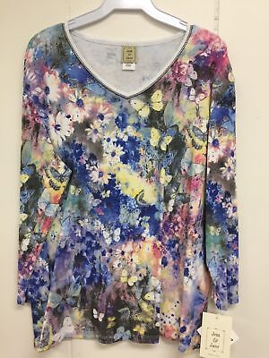 Jess And Jane Teeming Multi Color Butterfly Floral Shirt Size New With Tags