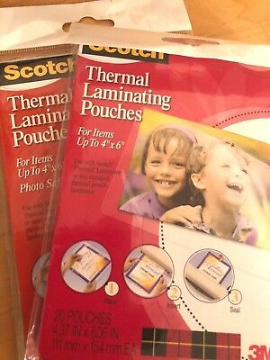 Scotch Thermal Laminating Pouches 20pkg 4 X 6glossy 2 Pack 3m Machine Needed