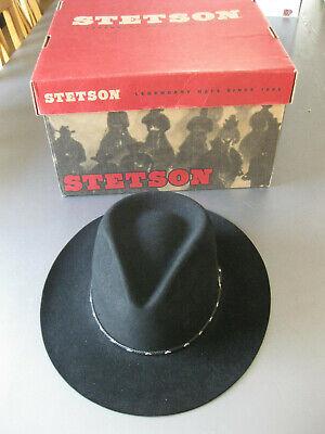 STETSON Western Hut Gr. 59/60 Wollfilz Cowboy Original aus Dallas Schwarz OVP