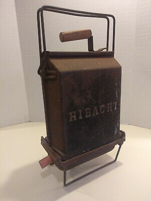 Antique Vintage Cast Iron Hibachi Fold Up Grill Barbecue Smoker Outdoor Portable