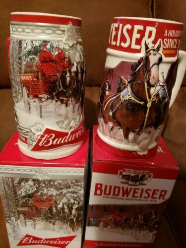2017 and 2018 Budweiser Anheuser Busch Holiday Christmas steins