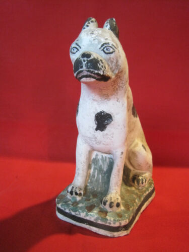 Antique primitive chalk or clay dog figurine, Boston Terrier or French Bulldog ?