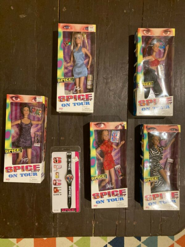 1998 Spice Girls On Tour Dolls Complete Set AND 1997 Rare Digital Watch!