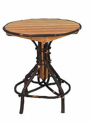 SALE Amish Rustic Hickory Round Slat Pedestal End Table 19