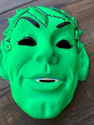VINTAGE Jolly Green Giant MASK, COSTUME MASK , Florescent Green. Used