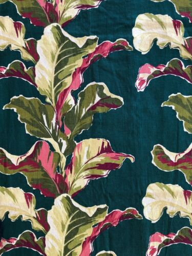 Vintage Barkcloth Fabric Tropical Green Banana Leaf Tiki Mid Century Curtain 40s