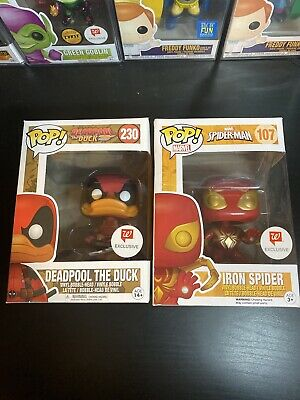Exclusive Marvel Funko Pop Lot! Deadpool The Duck And Iron Spider Walgreens