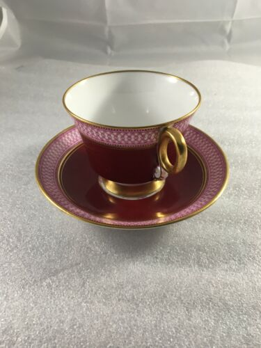 Adderley Fine Bone China, England Tea Cup and Saucer pink red pattern gold trim