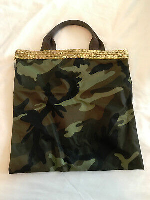 VINTAGE SEVENTEEN BRAND CAMOUFLAGE PURSE CARRY BAG 14X14
