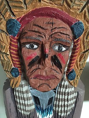 Antique Hand Carved Wooden Cigar Store Indian 5' Tall