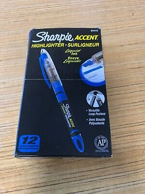 Sharpie Accent Liquid Pen Style Highlighter Chisel Tip Fluorescent Blue Dozen