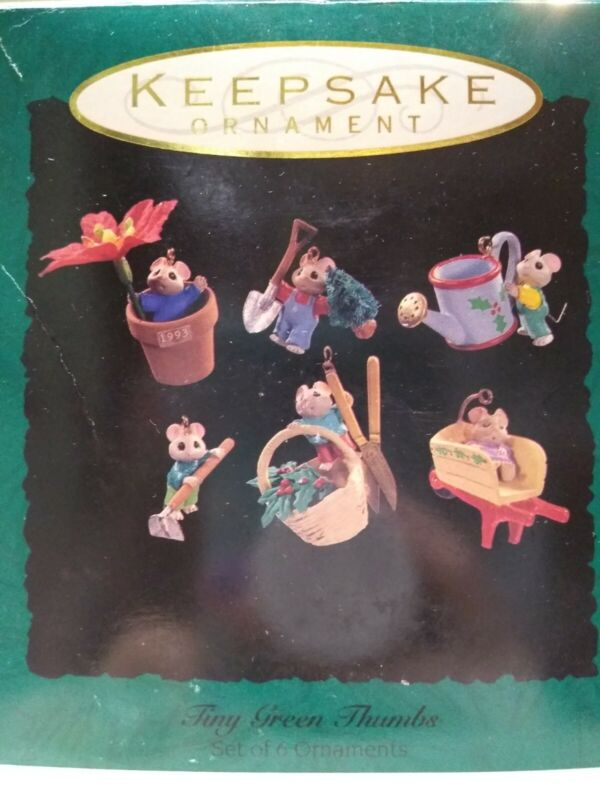 Collectible 1993 Hallmark Tiny Green Thumbs Set Of 6 Mice Christmas Ornaments