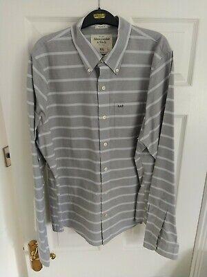 Mens Abercrombie and fitch Shirt XXL Grey & White Stripe New