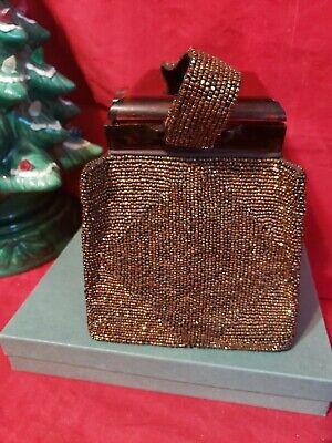 1940s Handbags and Purses History FRE MOR_1940'S _Bronze Beaded Purse-Box handbag , Bakelite, tiny glass beads $90.00 AT vintagedancer.com