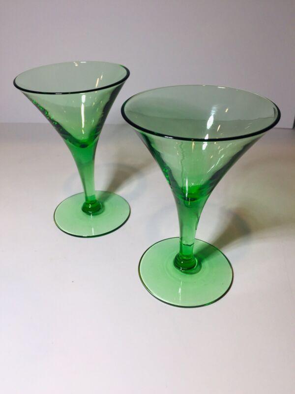 LOT OF 2 VINTAGE GREEN OPTIC URANIUM GLASS CHAMPAGNE/MARTINI GLASSES