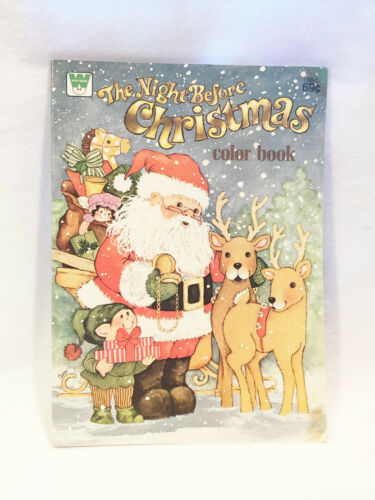VINTAGE 1977 WHITMAN THE NIGHT BEFORE CHRISTMAS COLOR BOOK - NEW OLD STOCK