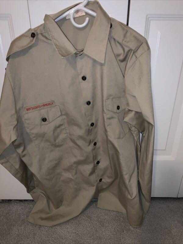 Boy Scout BSA UNIFORM SHIRT  Men's Extra Large  Long Sleeve Shirt Tan L42