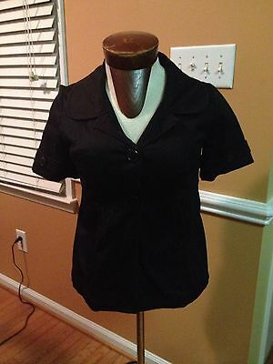 WOMENS BLACK BIG BUTTON SHORT SLEEVE COVER COAT BLOUSE TOP MEDIUM CATO