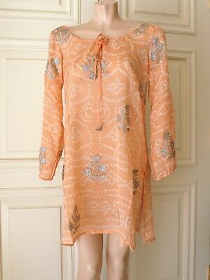 NWT JULIET DUNN LONDON Mango/Silver 100% Silk Tunic Kaftan Dress Beach Cover SZ1
