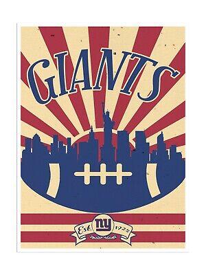 New York Giants Poster Print Sunset Wall Art Man Cave Decor 12x16