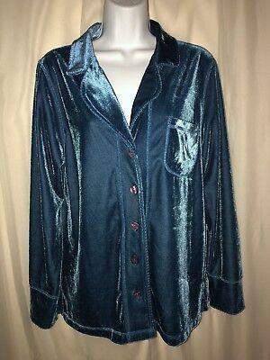 CAROLE HOCHMAN Sapphire Velour Pajama Long Sleeve TOP SIZE SMALL