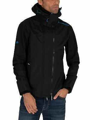 Superdry Men's Tech Hood Pop Zip Windcheater Jacket, Black