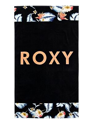 ROXY WOMENS BEACH TOWEL.HAZY BLACK FLOWER LARGE COTTON HOLIDAY SURF MAT.9S 59 KV Surf-mat