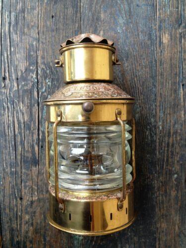 """ANCHOR"" BRAND ENGLAND OIL LAMP NAUTICAL VINTAGE MARITIME COPPER & BRASS LANTERN"