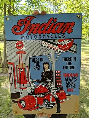 OLD LARGE VINTAGE 1951 INDIAN MOTORCYCLES PORCELAIN ADVERTISING SIGN FLYING A