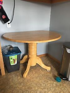 Wood table with attached leafs