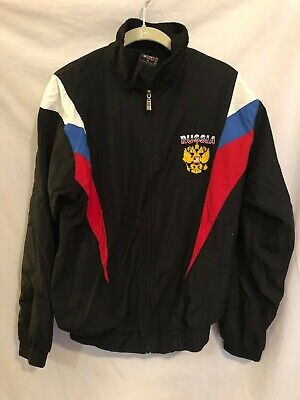 Sport Best Womens Windbreaker Black with Russian Federation Coat of Arms