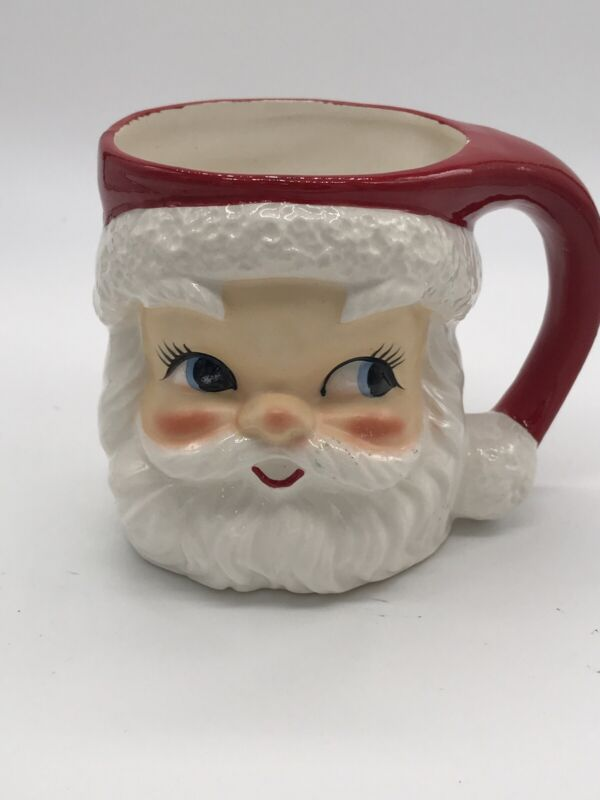 Vintage Lefton Santa Face Mug Christmas Cup Japan 2542