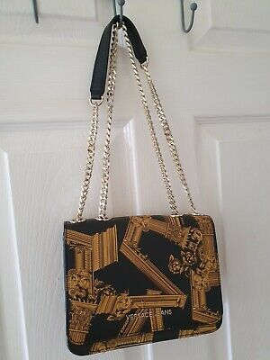 Versace Jeans bag black mixed with gold colors, golden metal shoulder chain.