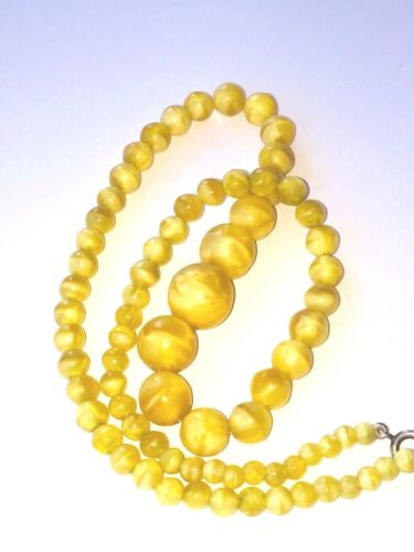 beautiful SATIN YELLOW glass beads necklace silver clasp