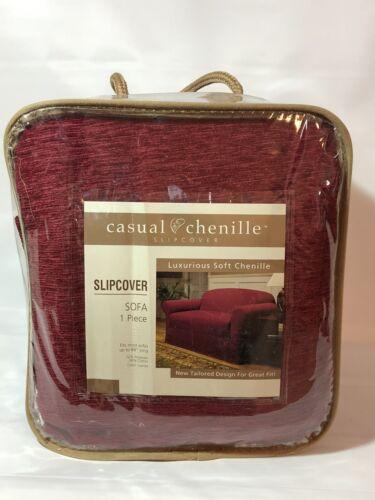 one piece luxurious soft sofa slipcover garnet