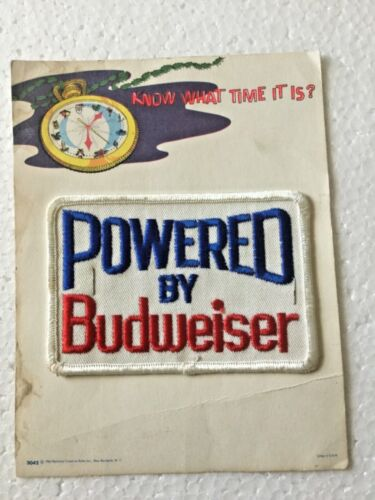 Vintage 1963 Powered By Budweiser Sew On Fabric Embroidered Patch Beer Car Race