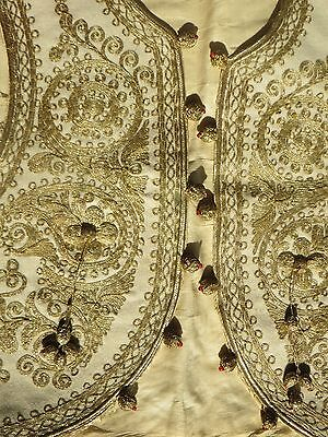 ANTIQUE OTTOMAN TURKISH HAND EMBROIDERED CHILD'S VEST WAISTCOAT Metallic Gold