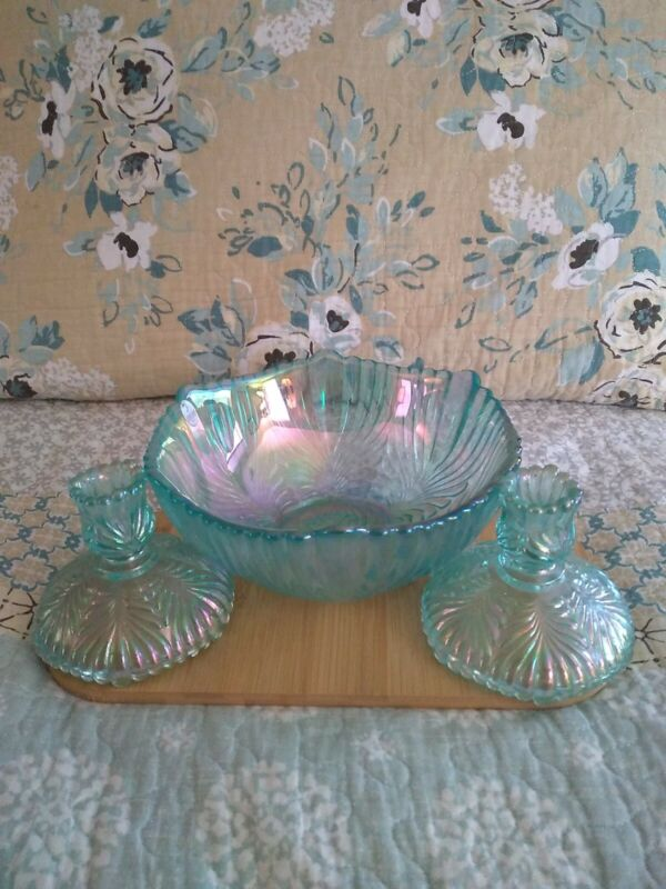 Fenton Teal Irredescent Scalloped Bowl with 2 matching candle holders