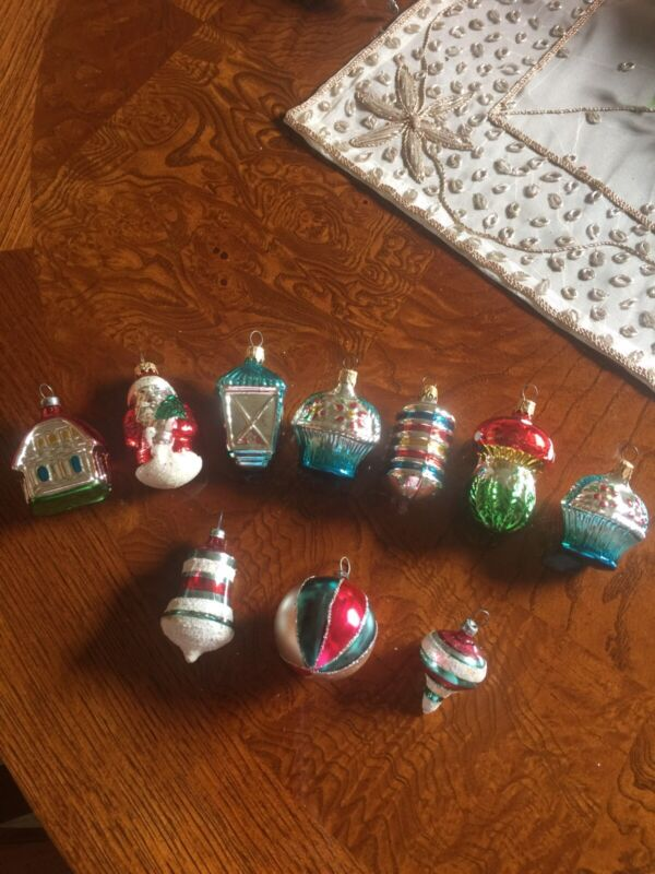 """10 - GLASS CHRISTMAS ORNAMENTS - MADE IN COLUMBIA SMALL - 2 """""""