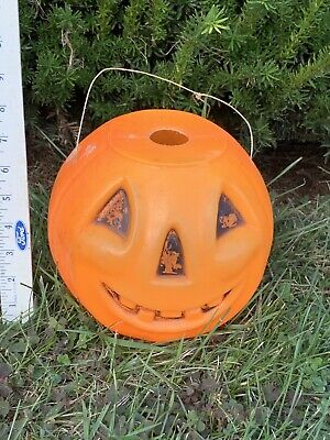 Vintage 1960s Plastic Halloween Trick Or Treat Jack o'lantern Candy Bucket
