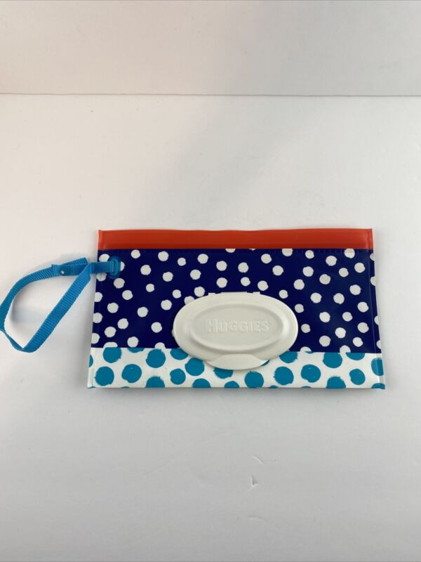 Huggies Clutch N Clean Baby Wet Wipe Portable Travel Pouch Blue White Polka Dots