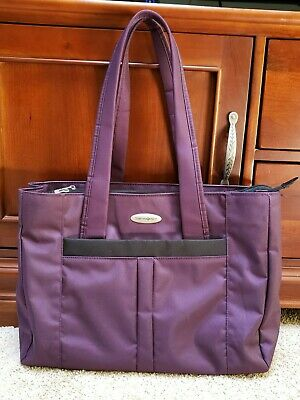 Samsonite Laptop Tote Bag Large Travel Carry On Dark Purple