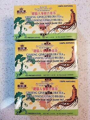 3 Boxes Royal King 100% Natural Herbal Ginseng Ginkgo Biloba Tea 20 Tea Bags - Ginkgo 20 Bags