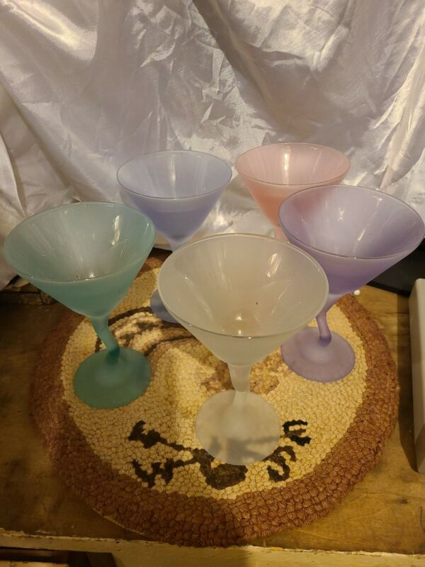 Vintage Libbey Pastel Colored Frosted Martini Glasses w/ZigZag Stem - Set Of 5