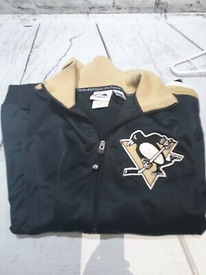 Mens Majestic Pittsburgh Penguins Zipdown Cardigan Jacket Size Medium Black