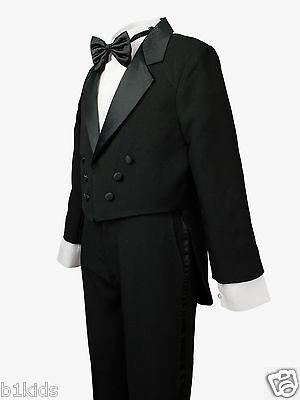 Boys Tuxedo Tail Black Kids Children Formal Party Toddler Size S-XL 2T-4T  5-20 - Kids Tuxedo