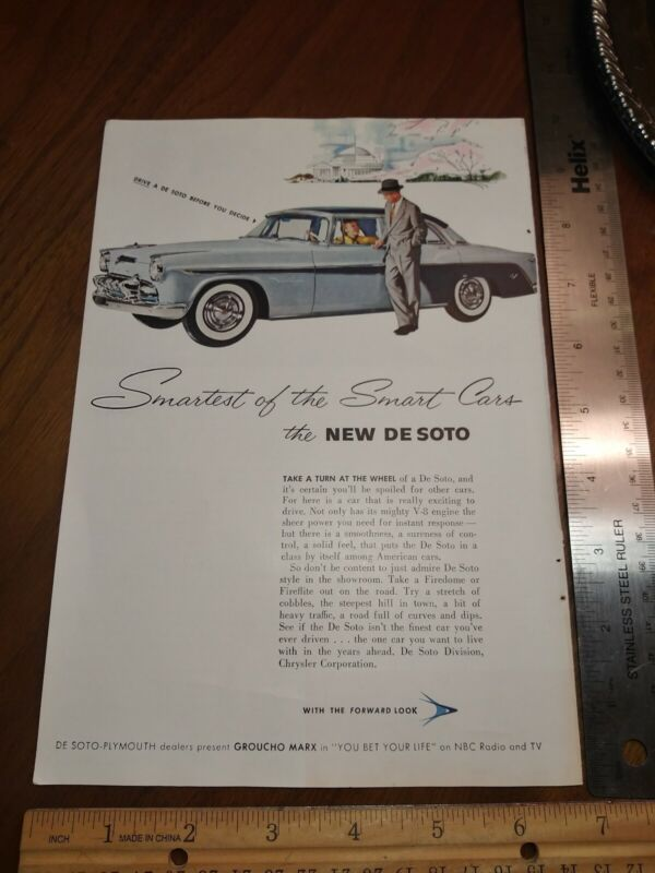 De Soto DeSoto Plymouth Chrysler Ad With Groucho Marx You Bet Your Life