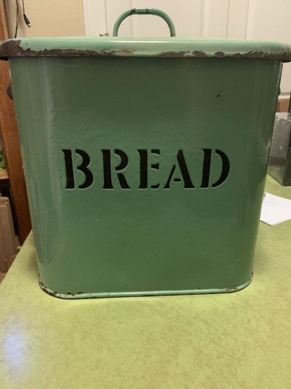 Bread Box Rustic Farmhouse Light Green Vtg Retro Style Enamel Storage