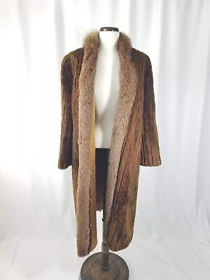 - Vintage Fur Brown Mid Length Coat Sz Medium M